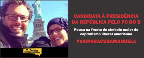 PRÉ-CANDIDATA COMUNISTA A PRESIDENTE DO BRASIL POSTA FOTO NA FRENTE DO MAIOR SÍMBOLO DO CAPITALISMO